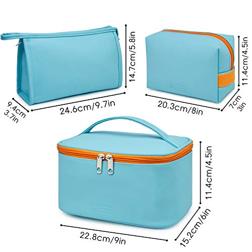 WANDF 3 Pieces Makeup Bag PU Leather Toiletry Bag Portable Cosmetic Pouch Water-resist Travel Organizer for Women (Blue)