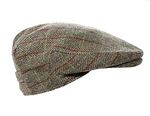 97230fa16 Mens Driving Cap 100% Tweed Green & Red Plaid Made in Ireland Large