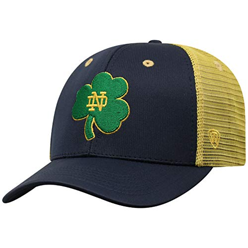 Top of the World NCAA-Ranger Trucker Mesh-Adjustable Snapback Hat Cap (Notre Dame Fighting Irish-Navy/Gold with Shamrock, -