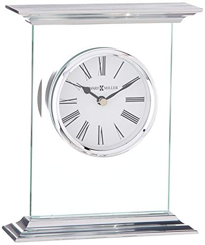 Howard Miller Clifton Table Clock 645-641 – Modern Glass with Quartz Movement - TABLE CLOCK: The Clifton Table Clock is a glass and metal carriage clock with a .375 inch thick beveled glass panel to compliment your home decor. The clock's quartz movement makes a soft ticking noise without the use of chimes for a quieter environment. DURABLE: This indoor modern clock is created to last. It has a sturdy frame to relieve stress in a busy household. Place it in your kitchen, office, bathroom, bedroom, living room, and more. A felt bottom will protect your tabletop or desk. HIGH QUALITY: The design is a home essential with a brushed aluminum top and base with polished edges. Easily tell time with black Roman numerals behind glass, polished chrome-finished bezel, black hands, and silver seconds hand to stand out over a white dial. - clocks, bedroom-decor, bedroom - 41 Zr5dFt5L -