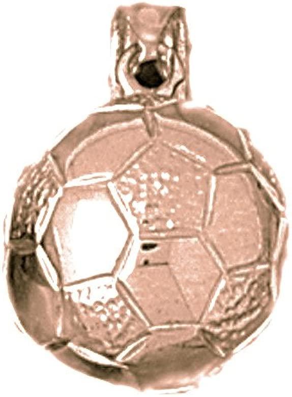 Oro rosa de 14 K 3-D Balón De Fútbol colgante - 19 mm: Amazon.es ...