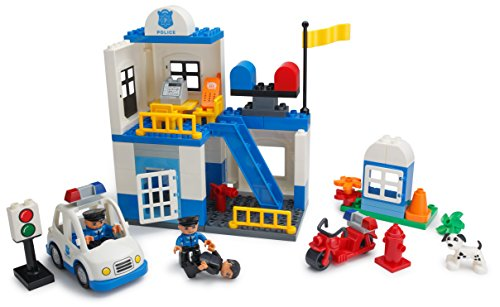 Review Play Build Police Station Building Blocks Set – 95 Pieces – Includes Police Department, Car, Motorcycle, Jail Cell, Police Officer & Robber Minifigures, Dog & Accessories