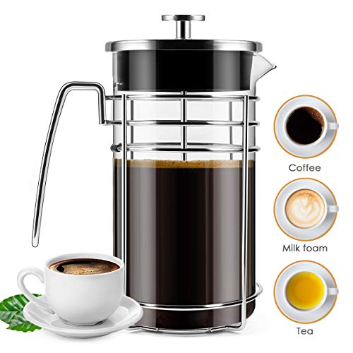 - French Press Coffee Maker, (8 Cups/ 34 oz) Durable Easy Clean Coffee Pot Heat Resistant Borosilicate Glass - 100% BPA Free