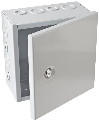 """BUD Industries JBH-4957-KO Steel NEMA 1 Sheet Metal Box with Knockout and Hinged Cover, 8"""" Width x 8"""" Height x 4"""" Depth, Gray Finish"""