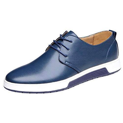 Hunzed Men's Shoes Men's lace Clearance Business Dress Shoes Casual Shoes (8 M US, Blue)]()