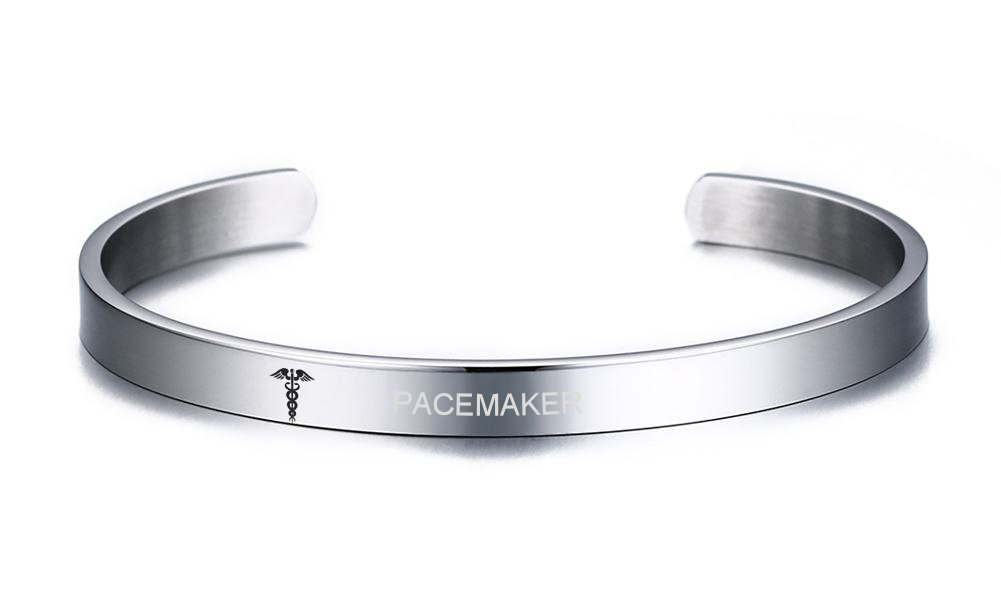 VNOX PACEMAKER Medical Alert ID Stainless Steel Cuff Bangle Bracelet for Women Girl,8MM Width