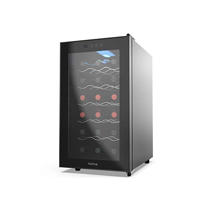 hOmelabs 18 Bottle Wine Cooler – Free Standing Single Zone Fridge and Chiller for Wines – Small Quiet Cooling Red and White Wine Refrigerator with Glass Door and Digital Temperature Display