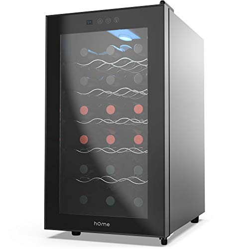 hOmelabs 18 Bottle Wine Cooler - Free Standing Single Zone Fridge and Chiller for Wines - Small Quiet Cooling Red and White Wine Refrigerator with Glass Door and Digital Temperature Display