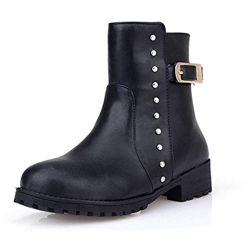 stivali nero gomma stagioni H 38 Giallo basso HQuattro della donne fibbia Marrone cintura skid Wear rivetto in black stivali e anti wgCCOqt