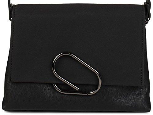 rabat métalliques bandoulière sac styleBREAKER avec et daim Noir 02012209 Noir à aspect couleur femme attaches sac main qUAFBxwA1