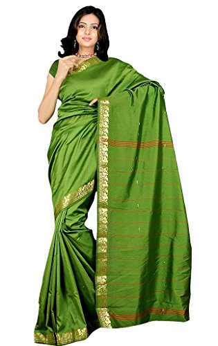 Indian Women's Traditional Art Silk Saree Sari Drape Top Veil fabric Parrotgreen