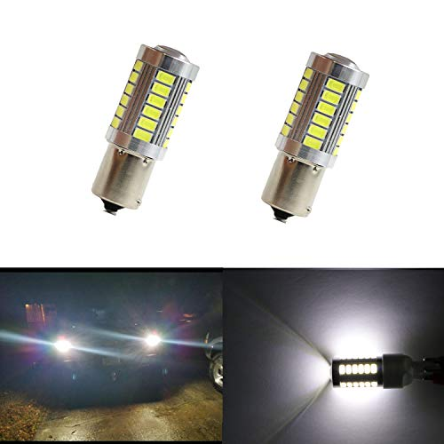 Dantoo 2 x 1156 P21W BA15S LED Reverse Light Bulbs 33 SMD Extremely Bright 6000K Xenon White Back Up Reverse LED Light Lamp