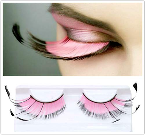 Dorisue Halloween Eyelashes Light Pink for eyelash extensions Goth Princess Pink Lash Kit Cosplay barbie doll Feather Lashes]()