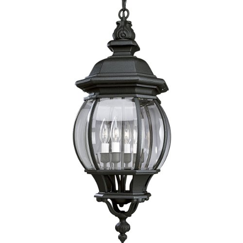 Progress Lighting P5501-31 Four Light Cast Hanging Lantern with Clear Beveled Glass, Textured - Cast Four Light