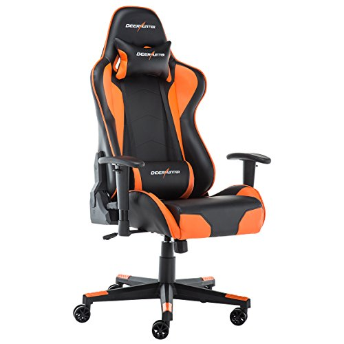 Deerhunter Gaming Chair, Leather Office Chair, High Back Ergonomic Racing Chair, Adjustable Computer Desk Swivel Chair with Headrest and Lumbar Support – Orange