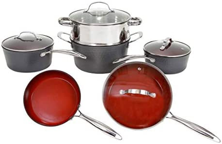 Fire Earth Hammered Edition 10 Piece ALL in One Cookware Set with Non-stick Ceramic Coating, Induction Heat Included Fry Skillet, Saute Pans, Stock Pot Glass Lids Steamer Insert Saucepan