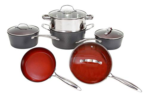 Fire & Earth Hammered Edition 10 Piece ALL in One Cookware Set with Non-stick Ceramic Coating, Induction Heat Included Fry Skillet, Saute Pans, Stock Pot Glass Lids & Steamer Insert Saucepan