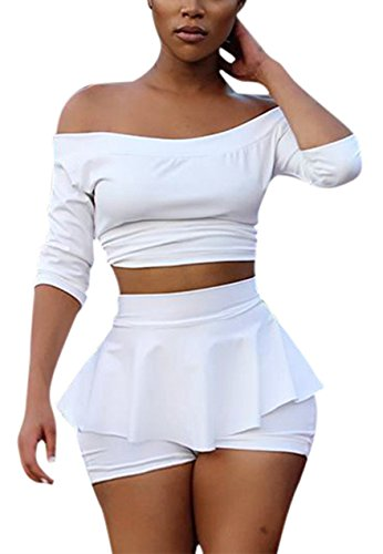 Sexy Two Piece Set - Womens Sexy 2 Pieces Off Shoulder Outfits Bodycon Solid Crop Top Pleated Pants Set Club Shorts (XL, white)
