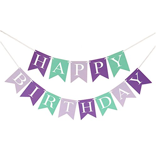 FECEDY Mermaid Under The Sea Happy Birthday Banner for Birthday Party Decorations
