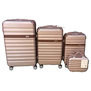3 Pieces Trolly Bags with small Beauty Case Same samsonite Design Fiber Material Rose Gold gold Colour