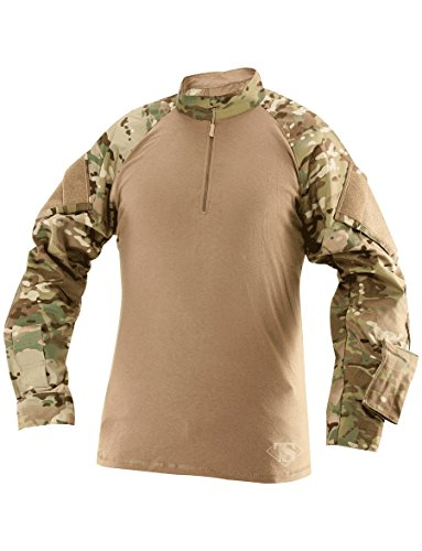 (Tru-Spec 65/35 Polyester/Cotton Rip-Stop 1/4 Zip Tactical Response Combat Shirt Multicam/Coyote Large)