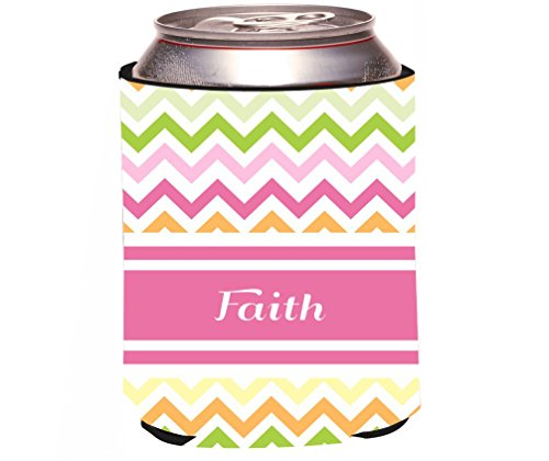 Rikki Knight Faith Pink Chevron Name Design Beer Can/Soda Drinks Cooler by Rikki Knight