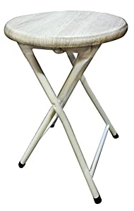 Portable Small Beige White Folding Stool Bar with Lock Mechanism Easy Storage and Stack-able by LavoHome