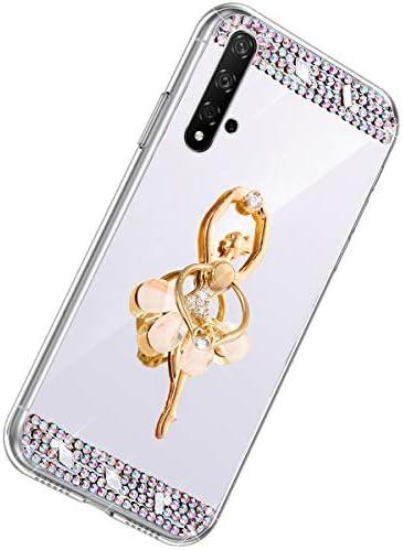 Herbests Kompatibel mit Huawei Honor 20 Handyhülle Glitzer Diamant Glänzend Spiegel Handytasche Durchsichtig Kristall Bling Schutzhülle Case mit 360 Grad Ring Ständer Halter,Silber