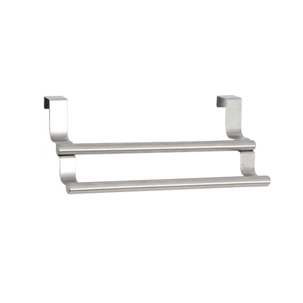 LAAN Over Door Towel Rail - Retractable Towel Rack - Towel Holder for Kitchens and Bathrooms, Stainless Steel, Silver (Size : Fixed length22.9×8.5(W×H))