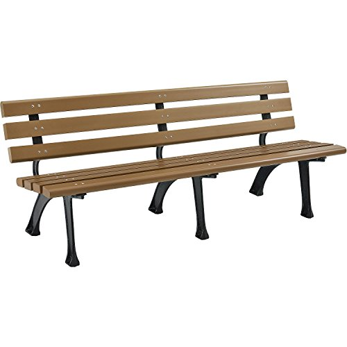 Park Bench With Backrest, 6'L, Tan For Sale