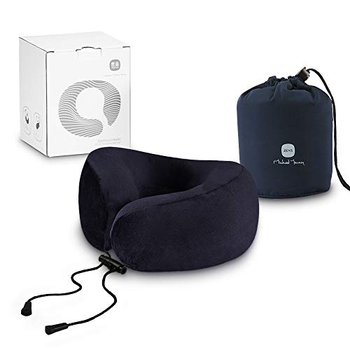 ZENS Neck Pillow for Airplane Travel,Soft Memory Foam Chin Support Pillows with Lock Drawstring,Washable Zipper Cover and Carrying Bag,Blue