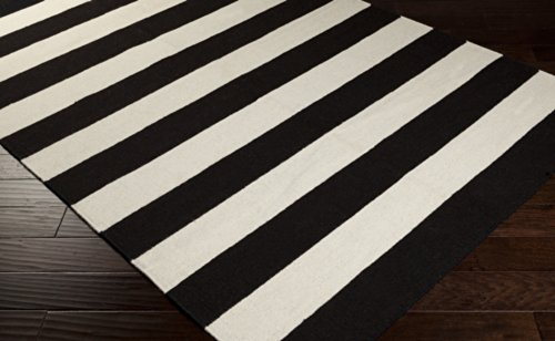 Surya Frontier FT-295 Flatweave Hand Woven 100% Wool Jet Black 2'6'' x 8' Stripes Runner by Surya