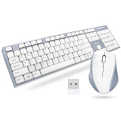UHURU Wireless Keyboard and Mouse Combo, 2.4G Whisper Compact Full Size USB Wireless Keyboard and Mouse for Laptop, Mac, PC, Desktop, Tablet, Computer, Windows, Smart TV