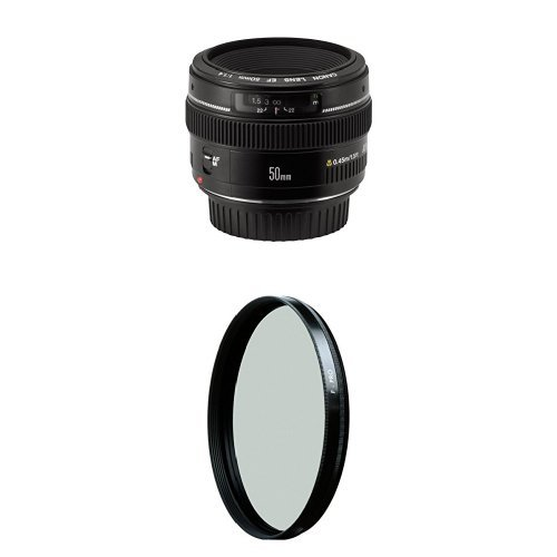 Canon EF 50mm f/1.4 USM Standard & Medium Telephoto Lens for Canon SLR Cameras w/ B+W 58mm HTC Kaesemann Circular Polarizer by Canon