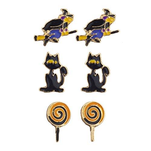Lux Accessories Halloween Witch Broomstick Cat Lollipop Stud Earring Set 3pc for $<!--$8.95-->