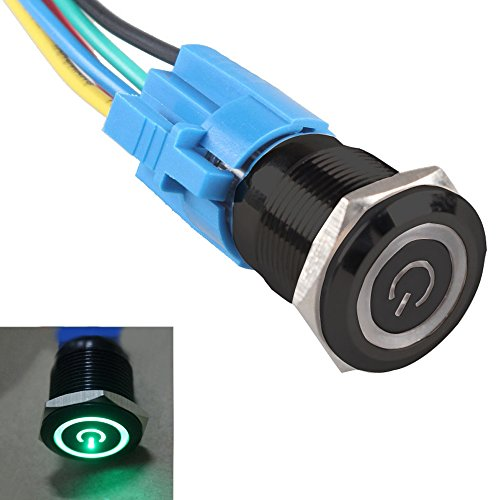 ESUPPORT Black 19mm 12V 5A Power Symbol Angel Eye Halo Car Green LED Light Metal Push Button Toggle Switch Socket Plug Wire