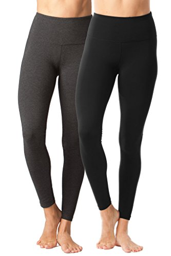 - High Waist Power Flex Legging - Tummy Control Black and Heather Charcoal 2 Pack - XS ()