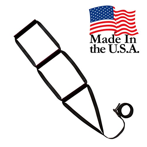 Bed Ladder Assist - Sit-Up Bed Assist Handle - Rope Ladder for Sitting Up In Bed - Pull Up Hoist for Elderly, Senior, Injury Recovery Patients and Pregnant Women - 3 Wide Padded Hand Grips (Black) by Pulse Brands