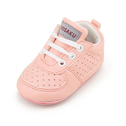 OOSAKU Baby Non-Slip First Walking Shoes Fashion Breathable Rubber Sole Sneaker (6-12 Months, Pink)