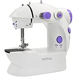 HIPPIH Mini Sewing Machine, Portable Electric Sewing Machine with Lamp and Thread Cutter, High & Low Speeds, Battery or Adapter Power Supplies