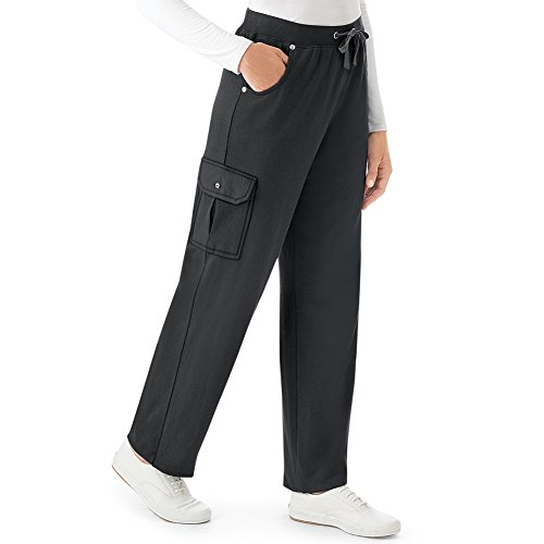 Collections Women's French Terry Elastic Waist Cargo Pant, Black, Large