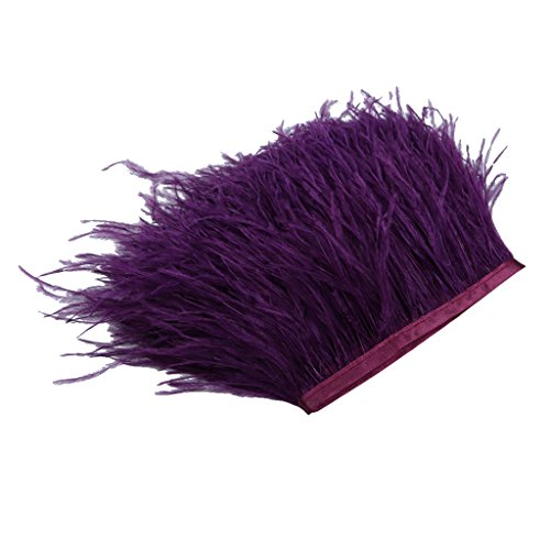 1 Yard Dyed Ostrich Feather Fringe Trim Ribbon Embellishment for Clothing Dress Decoration DIY Craft - Dark Purple
