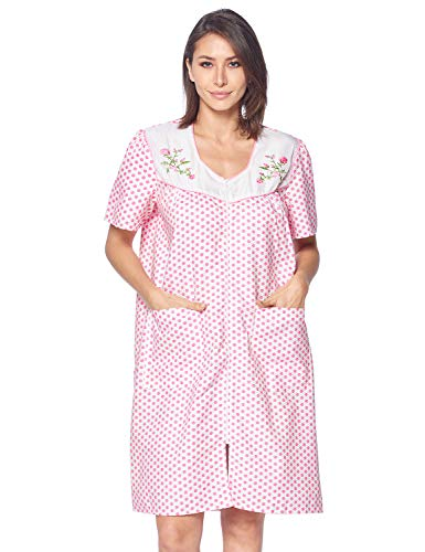 Casual Nights Women's Zipper Front House Dress Short Sleeves Duster Lounger Housecoat Robe, Dots Pink, ()