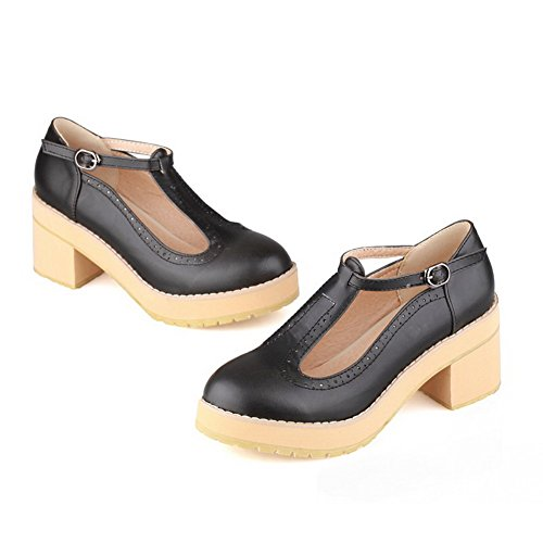 VogueZone009 Womens Closed Toe Round Toe Kitten Heels PU Soft Material Solid Pumps with Chunky Heels, Black, 8 UK