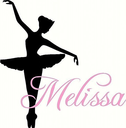 Dance Wall Decal - Personalized Ballerina With Name For Baby Girl Nursery Or Teen Girls Room Vinyl Wall Art 22 inches