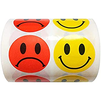 Amazon com : Smiley Face Frowny Face Stickers Yellow Happy