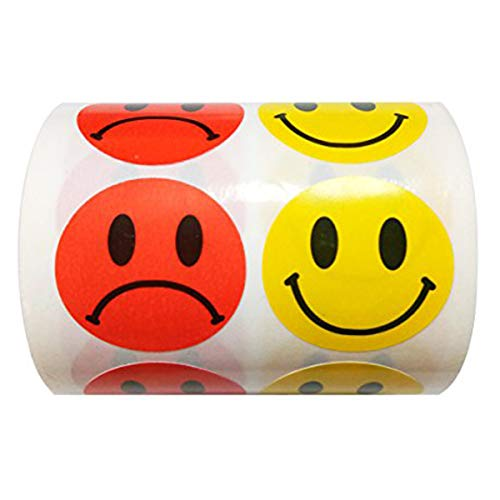 - Wootile Yellow Smiley Face Happy Stickers and Red Sad Frowny Face Stickers for Teachers 1 Inch Round Circle Dots 500 Labels Per Roll