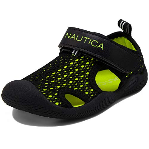 - Nautica Kids Kettle Gulf Protective Water Shoe,Closed-Toe Sport Sandal-Black Mesh Lime-11
