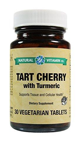 Cheap Natural Vitamin Co. Tart Cherry with Turmeric 825mg/50mg, Gluten Free Vegetarian Vegan Tablets (30)