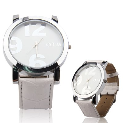 Digital Style Unisex Quartz Wrist Watch with Leather Band Strap for Girl Boy Premium Quality (Color : White) by GuiPing